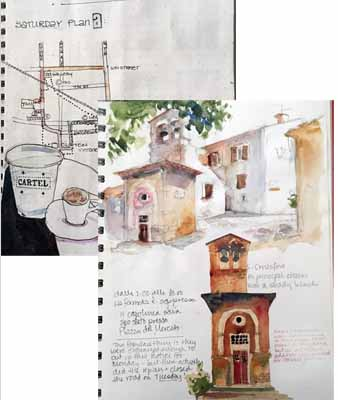 Mixed Media Collage Travel Journaling workshop with Susan K. Miller